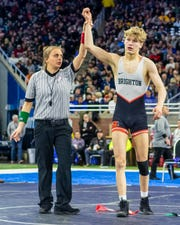 Brighton's Sam Freeman defeated Holt's Dylan Phelps to win the state championship at 130 pounds on Saturday, March 7, 2020 at Ford Field.
