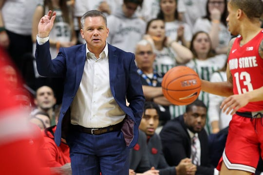 Mar 8, 2020; East Lansing, Michigan, USA;  Ohio State Buckeyes head coach Chris Holtmann gestures during the first half of a game against the Michigan State Spartans at the Breslin Center. Mandatory Credit: Mike Carter-USA TODAY Sports