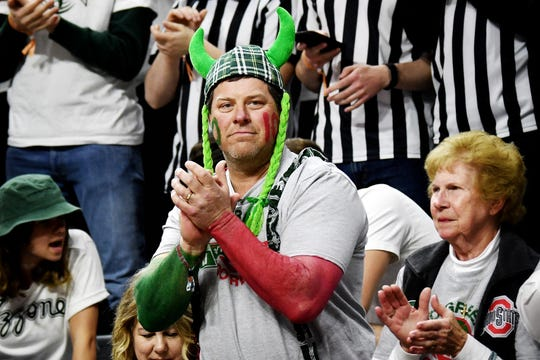 Rod Ahrens, uncle of Michigan State's Kyle Ahrens and Ohio State's Justin Ahrens, said there are about 600 people from the Versailles, Ohio, community at Breslin Center on Sunday, March 8, 2020, to watch the brothers play.