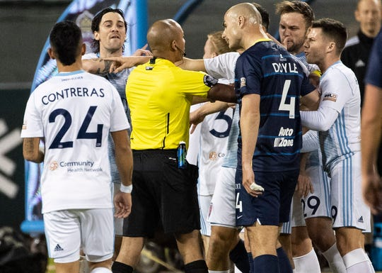An altercation on the field during the first half of a soccer game at AutoZone Park on Saturday, March 7, 2020. Memphis 901 FC lost to Indy Eleven 4-2  in opening game of USL Championship season.