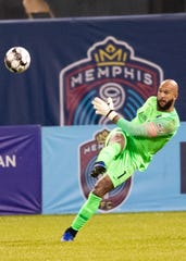 Memphis 901 FC goal keeper Tim Howard (1) kicks the ball during a game at AutoZone Park on Saturday, March 7, 2020. Memphis 901 FC lost to Indy Eleven 4-2  in opening game of USL Championship season.