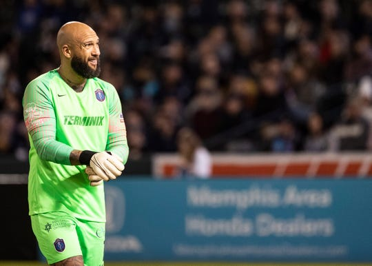 Memphis 901 FC  goal keeper Tim Howard (1) adjusts his gloves during a game at AutoZone Park on Saturday, March 7, 2020.