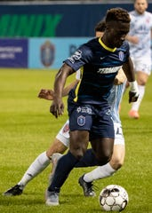 Memphis 901 FC midfielder Jean-Christophe Koffi (10) controls the ball during a game at AutoZone Park on Saturday, March 7, 2020. Memphis 901 FC lost to Indy Eleven 4-2  in opening game of USL Championship season.