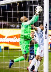 Memphis 901 FC goal keeper Tim Howard (1) makes a save on a shot during a game at AutoZone Park on Saturday, March 7, 2020.  Memphis 901 FC lost to Indy Eleven 4-2  in opening game of USL Championship season.