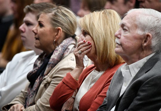 Members of First Baptist Church Mt. Juliet mourn as they remember two of their members that were killed as a tornado torn through their city damaging their church building Sunday, March 8, 2020.