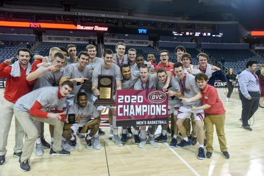 Belmont celebrates on the court at the Ford Center in Evansville, Indiana, after winning the Ohio Valley Conference Tournament on March 7.