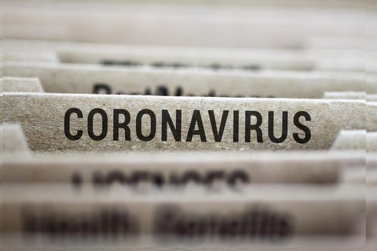 Coronavirus written on file folder label.