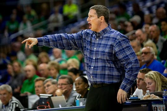 FGCU head coach Karl Smesko yells to his players during an ASUN Tournament quarterfinal game against Lipscomb University at FGCU in Estero on Saturday, March 7, 2020. FGCU beat Lipscomb 105 to 71.