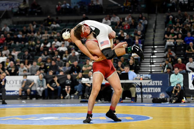 Brian Soldano of High Point lifts Dante Stefanelli of Delbarton in the air during their 160-pound final of the NJSIAA State Wrestling Championships at Boardwalk Hall in Atlantic City on Saturday, March 7, 2020.