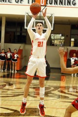 Tucker Smotherman takes a 3-point shot in the first quarter of Artesia's game against Grants on March 7, 2020. Smotherman led all scorers with 16 points. Artesia won, 54-48 and will face Hope Christian in the 4A quarterfinals on March 11.