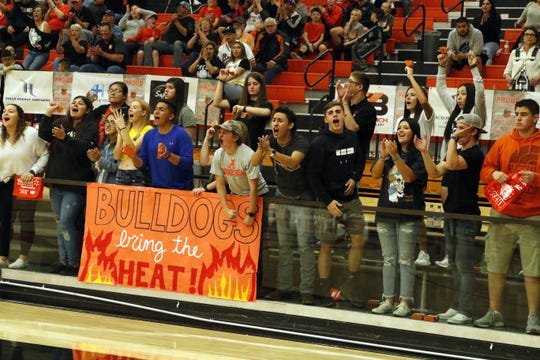 Artesia's fans cheer on the Bulldogs in their game against Grants on March 7, 2020. Artesia won the opening round game and will head to Albuquerque for the remainder of the 4A state tournament.