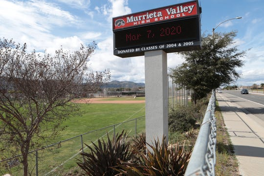 Murrieta Valley High School will be closed Monday due to the building being disinfected following a school employee being tested for coronavirus in Murrieta, Calif., on Saturday, March 7, 2020.