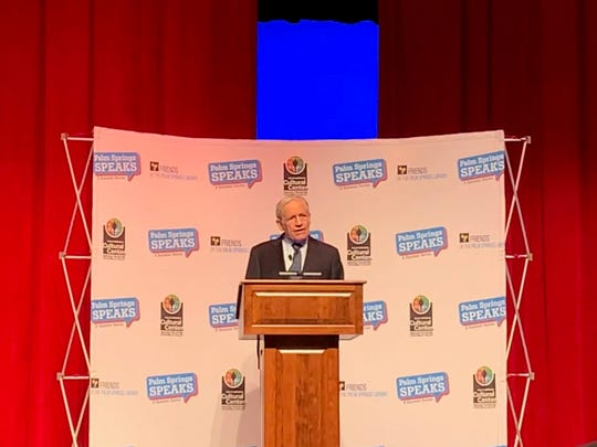 Investigative journalist Bob Woodward talks to a crowd of 900 at Palm Springs Speaks event at Palm Springs High School on March 6, 2020.