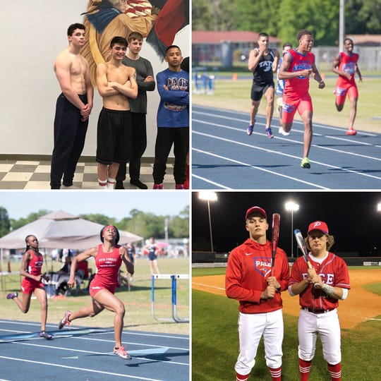Pace's Gabe Jacobs (top left, far left), Pine Forest's Ladarius Clardy (top right), Pine Forest's Autaliah Williams-Gould and Pace's Jaxon McKenzie  (bottom right, left) are among this week's PNJ Athlete of the Week nominees.