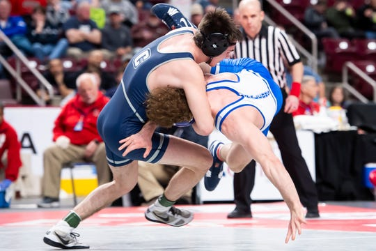 Chambersburg's Luke Nichter (left) wrestles Lower Dauphin's Clayton Ulrey in the PIAA 3A 160-pound championship bout at the Giant Center in Hershey Saturday, March 7, 2020. Nichter won by pin in 3:43.