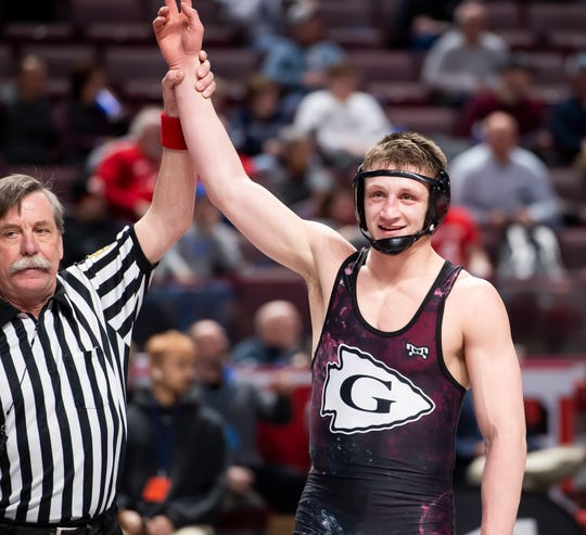 Gettysburg's Dylan Reinert reacts after defeating Mifflin County's Trey Kibe in the PIAA 3A 170-pound third-place bout at the Giant Center in Hershey Saturday, March 7, 2020.