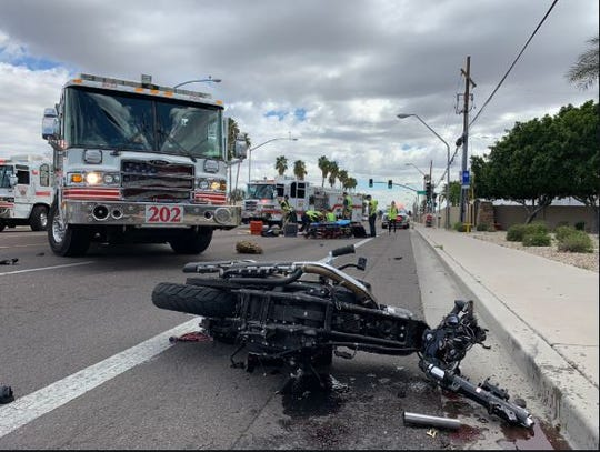 Officials said a male motorcyclist was taken to the hospital in critical condition after he crashed into a car in Mesa on March 8, 2020.