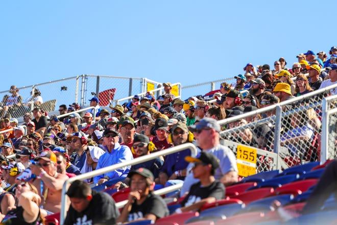 Fans watch the LS Tractor 200 on Mar. 7, 2020 at Phoenix Raceway in Avondale, AZ. (Brady Klain/The Republic)