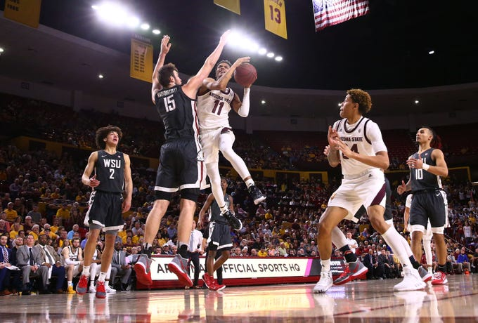 Arizona State Sun Devils guard Alonzo Verge Jr. (11) drives to the basket against Washington State Cougars center Volodymyr Markovetskyy (15) in the second half on Mar. 7, 2020 at Desert Financial Arena in Tempe, Ariz.