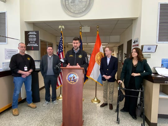 Ulster County officials speak at the county government building in Kingston as seen on Sunday to discuss the county's first coronavirus case.