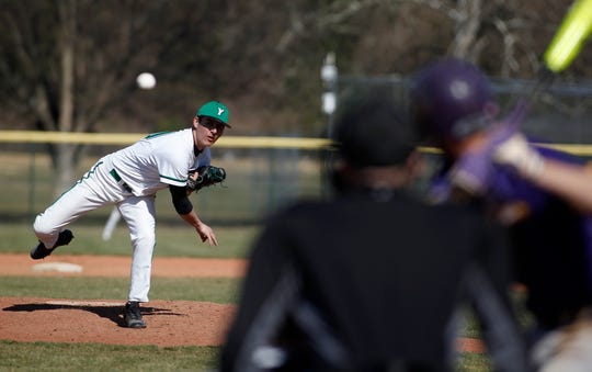 AJ Vincenzi delivers for York College as the Spartans host Elmira game two of an opening day double header, Sunday, March 8, 2020.
