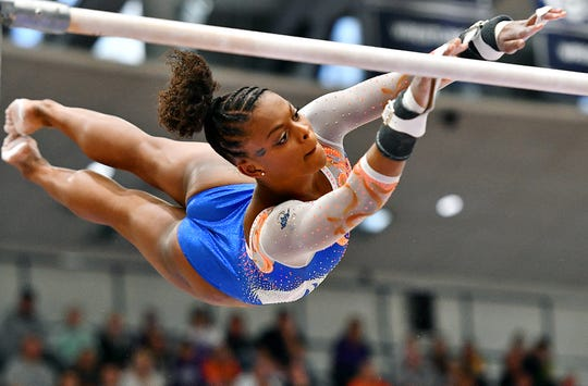 Trinity Thomas is shown here competing earlier this month at Penn State. Thomas is a member of the U.S. Senior National Gymnastics Team and had been considered a serious contender to make the 2020 U.S. Olympic team. The 2020 Tokyo Summer Games, however, will almost certainly now be postponed.