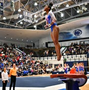 Florida's Trinity Thomas competes on the vault during a gymnastics meet at Penn State in State College, Saturday, March 7, 2020. Dawn J. Sagert photo