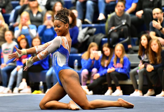 Florida's Trinity Thomas competes on the floor during a gymnastics meet at Penn State in State College, Saturday, March 7, 2020. Dawn J. Sagert photo