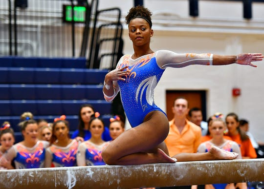 Florida's Trinity Thomas competes on the balance beam during a gymnastics meet at Penn State in State College, Saturday, March 7, 2020. Dawn J. Sagert photo