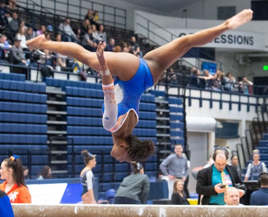 Trinity Thomas performs her beam routine during the dual meet between Penn State and Florida in the Rec Hall of Penn State University, March 7, 2020. The Gators took down the Nittany Lions.
