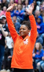 Trinity Thomas is met with a round of applause at the start of the dual meet between Penn State and Florida in the Rec Hall of Penn State University, March 7, 2020. The Gators took down the Nittany Lions.
