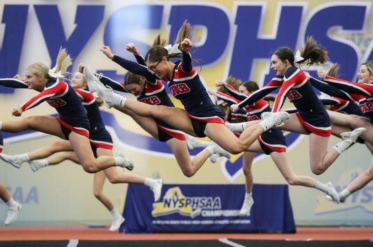 Chenango Forks cheerleaders compete at the NYSPHSAA Cheerleading Championships held at RIT on March 7th, 2020.