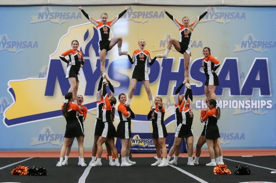 Union Endicott cheerleaders compete at the NYSPHSAA Cheerleading Championships held at RIT on March 7th, 2020.