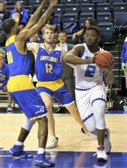 Angelo State University's Marcel Pettway makes a move to the basket in a game against Texas A&M-Kingsville earlier in the season.