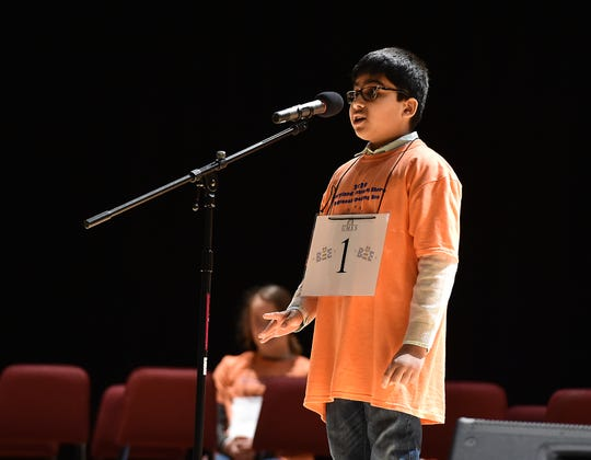 Runner-up Arjan Kharel of Bennett Middle School competes Saturday in the 2020 Maryland Eastern Shore Regional Spelling Bee at UMES.
