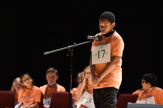 Reginal Crenshaw of Prince Street Elementary School competes Saturday in the 2020 Maryland Eastern Shore Regional Spelling Bee.