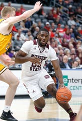 Missouri State's Kabir Mohammed (23) moves the ball against Valparaiso at the Missouri Valley Conference Tournament, Saturday, March 7, 2020, at the Enterprise Center in St. Louis.
