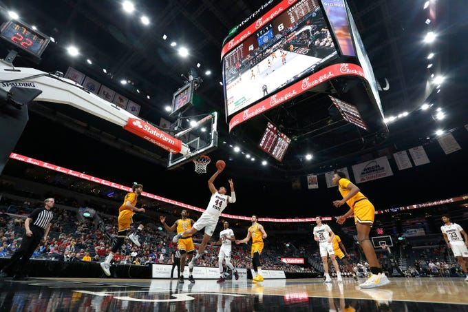 Missouri State's Gaige Prim (44) puts up a shot against Valparaiso at the Missouri Valley Conference Tournament, Saturday, March 7, 2020, at the Enterprise Center in St. Louis.