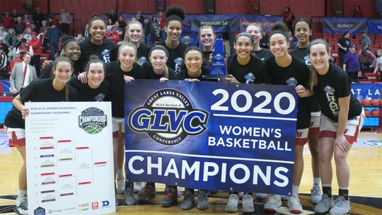 The Drury women's basketball team celebrates a 2020 conference championship.