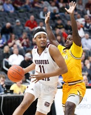 Missouri State's Isiaih Mosley (11) moves the ball against Valparaiso at the Missouri Valley Conference Tournament, Saturday, March 7, 2020, at the Enterprise Center in St. Louis.