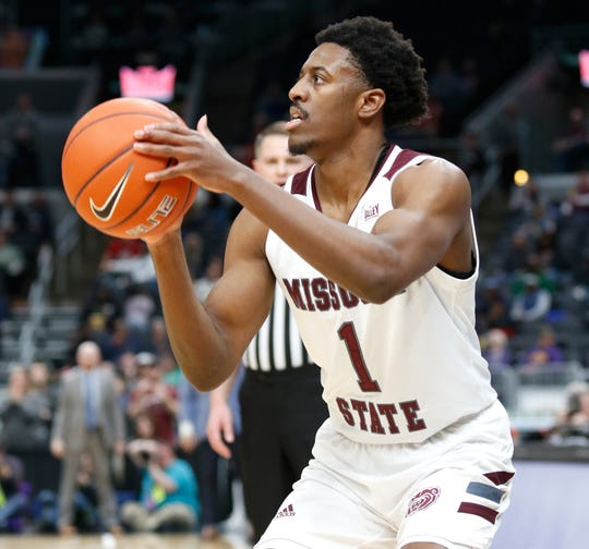 Missouri State's Keandre Cook (1) looks for a shot against Valparaiso at the Missouri Valley Conference Tournament, Saturday, March 7, 2020, at the Enterprise Center in St. Louis.