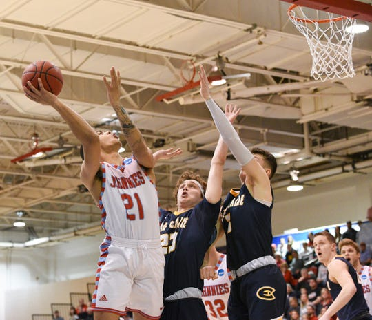 St. John's senior Jubie Alade puts up a shot against UW-Eau Claire in the second round of the DIII NCAA Tournament Saturday, March 7, 2020, at Sexton Arena.