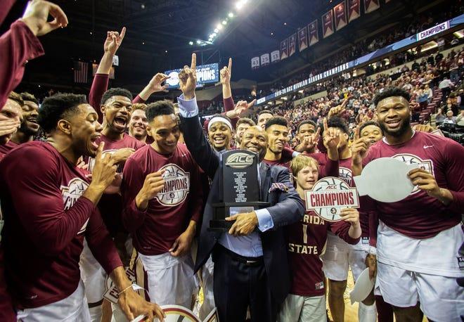 The Florida State Seminoles celebrate the ACC regular season title, Saturday, March 7, 2020.