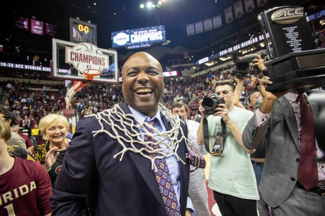 Florida State Seminoles head coach Leonard Hamilton soaks up the celebration after his team's victory. The Florida State Seminoles beat the Boston College Eagles 80-62, Saturday, March 7, 2020. The Seminoles clinched the ACC regular season title.
