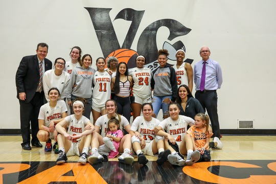 The Ventura College women's basketball team poses for a photo after beating Irvine Valley in the CCCAA Southern California regional finals on Saturday night in Ventura. VC won, 70-67.