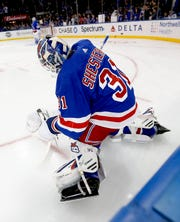 Mar 7, 2020; New York, New York, USA; New York Rangers goaltender Igor Shesterkin (31) stretches during pregame warmups prior to the game against the New Jersey Devils at Madison Square Garden. Mandatory Credit: Andy Marlin-USA TODAY Sports