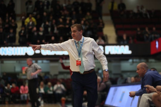 Hastings' coach Bob Delle Bovi is pictured during his team's 56-54 win over Valhalla in the Section 1 Class B championship game at the Westchester County Center on March 7, 2020.