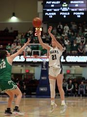 Eva Dechent (21) breaks a 41-41 tie with this 3-point shot against Irvington during the girls Class  B final at the Westchester County Center in White Plains March 7, 2020. Putnam Valley won the game 52-49.