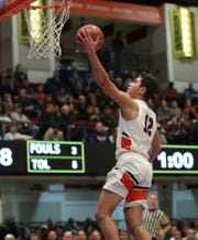 Horace Greeley's Christoph Sauerborn (12) rolls in a shot during their 46-35 win over Mount Vernon in the boys basketball Class AA section championship game at the Westchester County Center in White Plains on Sunday, March 8, 2020.