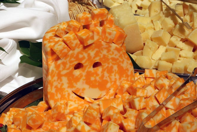 This smiling Colby Jack cheese from Shullsburg Creamery II, LLC, in Shullsburg, Wisconsin greeted attendees at the World Championship Cheese Contest on March 5, 2020, in Madison.
